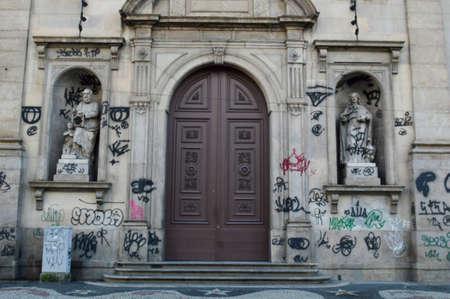 Rio de Janeiro, Brazil - march 24, 2019: dirty church facade with graffiti in the city center Redakční