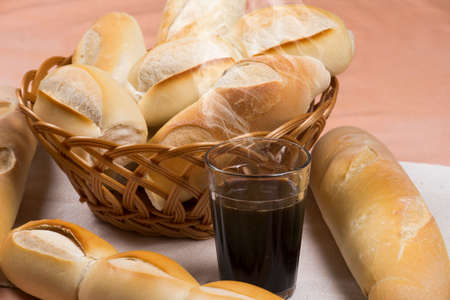 basket of french breads and hot coffee