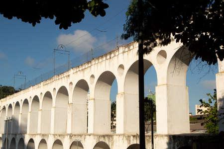 Landmark white arches of Arcos da Lapa in Centro of Rio de Janeiro Brazil Imagens