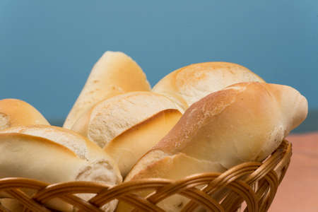 basket of french breads on a table Banque d'images