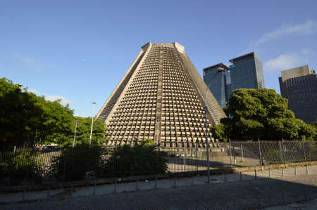 Facade of the cone-shaped metropolitan cathedral Rio de Janeiro in the center of the city Stock Photo