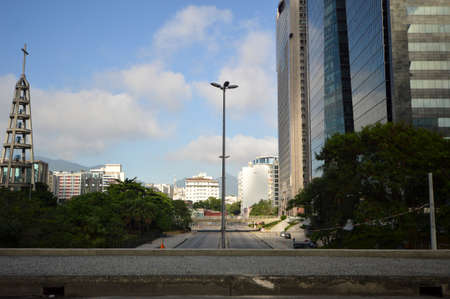 modern buildings in the center of the city of Rio de Janeiro in contrast to old ones in the background