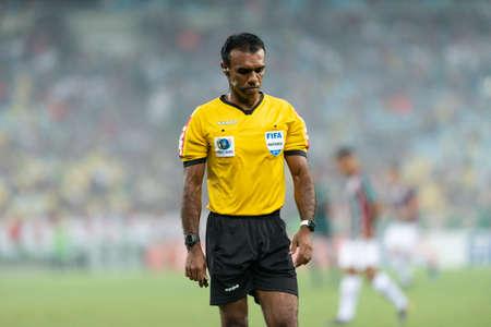 Rio, Brazil - april 28, 2019: Dewson Fernando Freitas da Silva referee in match between Fluminense and Goias by the Brazilian Championship in Maracana Stadium