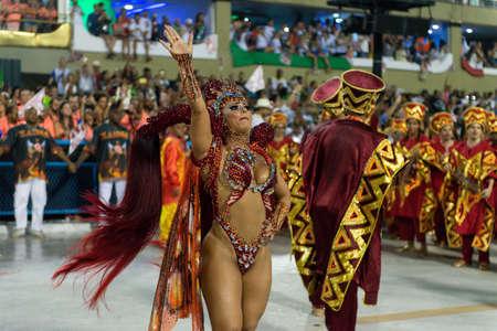 Rio, Brazil - march 03, 2019: Salgueiro during the Carnival Samba School Carnival RJ 2019, at Sambodromo. Queen of percussion Viviane Araujo