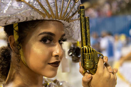 Rio, Brazil - march 01, 2019: Inocentes de Belford Roxo during the Carnival Samba School Carnival RJ 2019, at Sambodromo. Honorary Committee