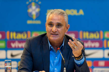 Rio de Janeiro, Brazil - may 16, 2019: coach Tite announces the list of player who will represent Brazil in the America Cup in Brazil