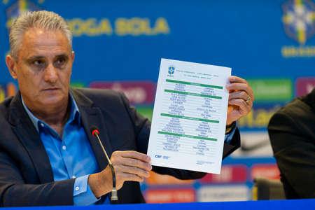 Rio de Janeiro, Brazil - may 16, 2019: coach Tite announces the list of player who will represent Brazil in the America Cup in Brazil