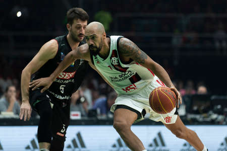 Rio, Brazil - may 19, 2019: Marquinhos players during Flamengo vs. Franca for the first play-off of the final of the New Basketball Brazil (NBB) at Maracanazinho stadium