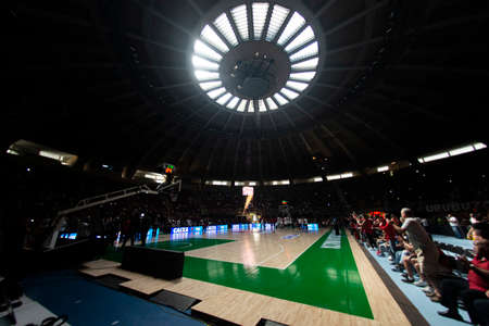 Rio, Brazil - may 19, 2019: Flamengo vs. Franca for the first play-off of the final of the New Basketball Brazil (NBB) at Maracanazinho stadium