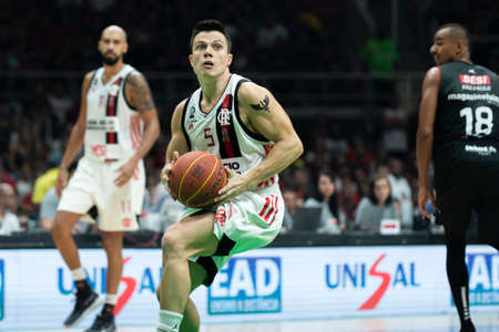 Rio, Brazil - may 19, 2019: Davi players during Flamengo vs. Franca for the first play-off of the final of the New Basketball Brazil (NBB) at Maracanazinho stadium