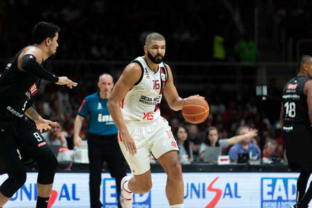 Rio, Brazil - may 19, 2019: Olivinha players during Flamengo vs. Franca for the first play-off of the final of the New Basketball Brazil (NBB) at Maracanazinho stadium