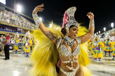 Rio, Brazil - march 01, 2019: Inocentes de Belford Roxo during the Carnival Samba School Carnival RJ 2019, at Sambodromo. Queen of percussion: Thayna Oliveira