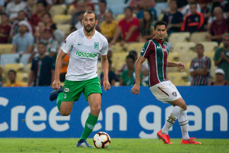 Rio, Brazil - may 23, 2019: Hernan Barcos player in match between Fluminense (BRA) and Atletico Nacional (COL) by the Sudamerica Cup in Maracana Stadium