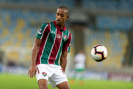 Rio, Brazil - may 23, 2019: Joao Pedro player in match between Fluminense (BRA) and Atletico Nacional (COL) by the Sudamerica Cup in Maracana Stadium