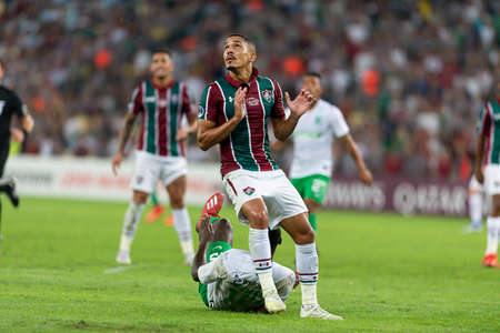Rio, Brazil - may 23, 2019: Gilberto player in match between Fluminense (BRA) and Atletico Nacional (COL) by the Sudamerica Cup in Maracana Stadium Sajtókép