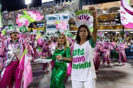 Rio, Brazil - march 04, 2019: Mangueira during the Carnival Samba School Carnival RJ 2019, at Sambodromo, widow of Marielle Franco, Monica Ben'cio
