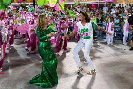 Rio, Brazil - march 04, 2019: Mangueira during the Carnival Samba School Carnival RJ 2019, at Sambodromo, widow of Marielle Franco, Monica Ben�cio