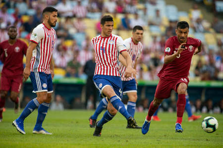 Rio de Janeiro, Brazil - June 16, 2019: F. Balbuena of Paraguay kicks the ball during the 2019 America Cup Group B game between Paraguay and Qatar at Maracana Stadium.