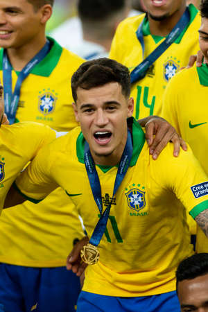 Rio, Brazil - July 7, 2019: Philippe Coutinho of Brazil wins Peru in 3x1 during the game of the 2019 Copa America final in Maracana Stadium and is champion.