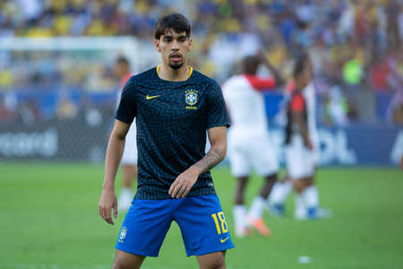 Rio, Brazil - July 7, 2019: Lucas Paqueta of Brazil entering the field before the CONMEBOL 2019 America Cup finals at Maracana Stadium.