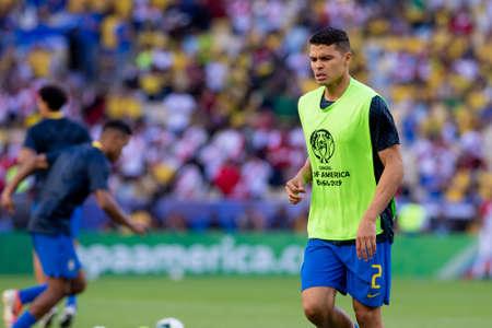 Rio, Brazil - July 7, 2019: Thiago Silva of Brazil entering the field before the CONMEBOL 2019 America Cup finals at Maracana Stadium.
