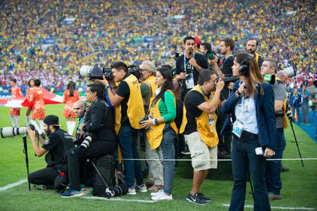 Rio, Brazil - July 7, 2019: photojournalists working during the closing ceremony of the Copa America 2019 at the Maracana Stadium
