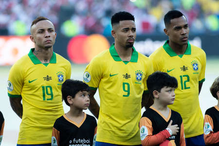 Rio, Brazil - July 7, 2019: Gabriel Jesus during Brazil National Anthem at the 2019 America Cup finals game between Brazil and Peru at Maracana Stadium.