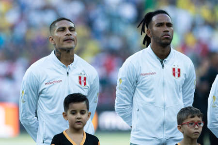 Rio, Brazil - July 7, 2019: Paolo Guerrero during Peru National Anthem at the 2019 America Cup finals game between Brazil and Peru at Maracana Stadium.