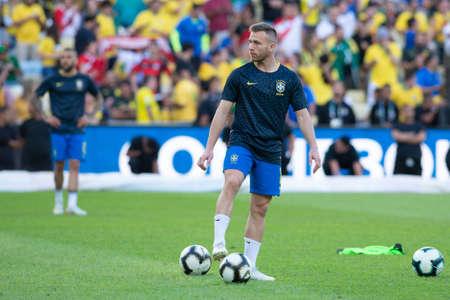 Rio, Brazil - July 7, 2019: Arthur Henrique Melo of Brazil entering the field before the CONMEBOL 2019 America Cup finals at Maracana Stadium. Editoriali