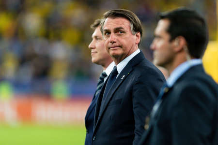 Rio, Brazil - July 7, 2019: president of Brazil Jair Bolsonaro during the closing ceremony of the 2019 America Cup at Maracana Stadium Editoriali