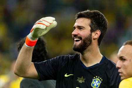 Rio, Brazil - July 7, 2019: Alisson Ramses Becker of Brazil wins Peru in 3x1 during the game of the 2019 Copa America final in Maracana Stadium and is champion.