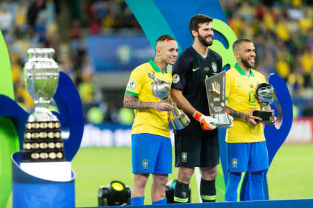 Rio, Brazil - July 7, 2019: Daniel Alves and Everton (Cebolinha) of Brazil wins Peru in 3x1 during the game of the 2019 Copa America final in Maracana Stadium and is champion.