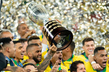 Rio, Brazil - July 7, 2019: Daniel Alves of Brazil wins Peru in 3x1 during the game of the 2019 Copa America final in Maracana Stadium and is champion.