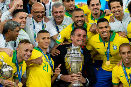 Rio, Brazil - July 7, 2019: Brazil wins Peru in 3x1 during the game of the 2019 Copa America final in Maracana Stadium and is champion.