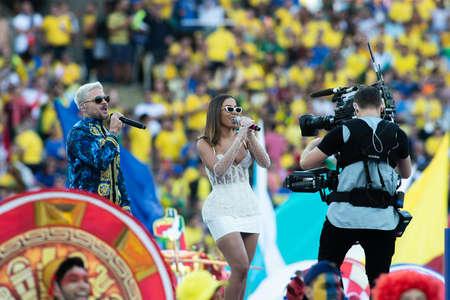 Rio, Brazil - July 7, 2019:  Brazilian singers Anitta and Puerto Rican Pedro Capo, before the start of the CONMEBOL 2019 America Cup grand final at Maracana Stadium.