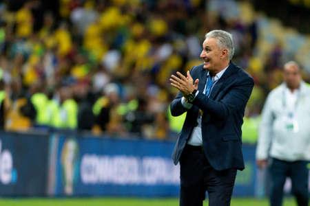 Rio, Brazil - July 7, 2019: Brazil coach Tite during the CONMEBOL 2019 America Cup finals at Maracana Stadium.