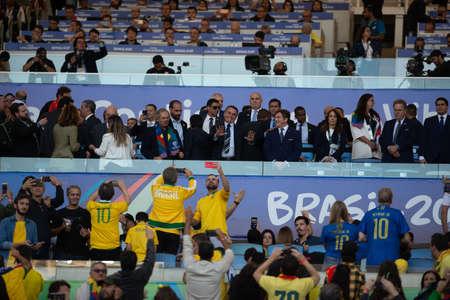 Rio, Brazil - July 7, 2019: president of Brazil Jair Bolsonaro during the closing ceremony of the 2019 America Cup at Maracana Stadium