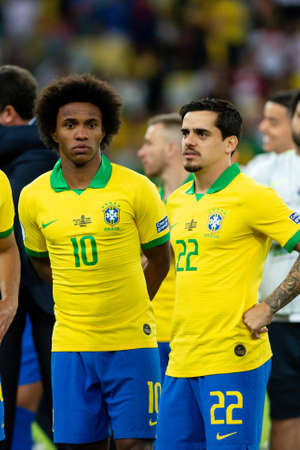 Rio, Brazil - July 7, 2019: Willian of Brazil wins Peru in 3x1 during the game of the 2019 Copa America final in Maracana Stadium and is champion.