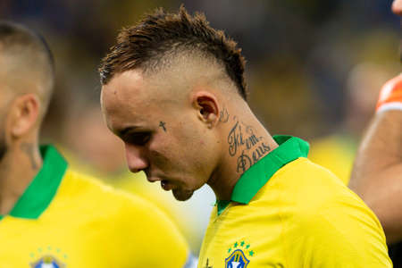 Rio, Brazil - July 7, 2019: Everton (Cebolinha) of Brazil wins Peru in 3x1 during the game of the 2019 Copa America final in Maracana Stadium and is champion.