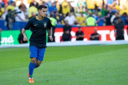 Rio, Brazil - July 7, 2019: Philippe Coutinho of Brazil entering the field before the CONMEBOL 2019 America Cup finals at Maracana Stadium.