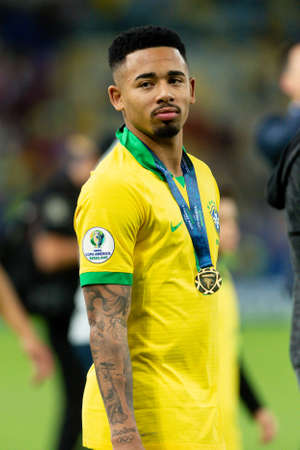 Rio, Brazil - July 7, 2019: Gabriel Jesus of Brazil wins Peru in 3x1 during the game of the 2019 Copa America final in Maracana Stadium and is champion.