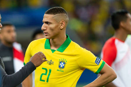Rio, Brazil - July 7, 2019: Richarlison of Brazil wins Peru in 3x1 during the game of the 2019 Copa America final in Maracana Stadium and is champion.