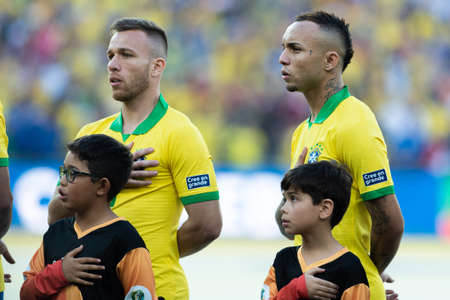 Rio, Brazil - July 7, 2019: Everton (Cebolinha) during Brazil National Anthem at the 2019 America Cup finals game between Brazil and Peru at Maracana Stadium.
