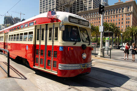 San Francisco, USA - june 11, 2019: type of electric tram transportation public in the city of San Francisco are tourist attractions. The vehicle is at Embarcadeiro Street downtown