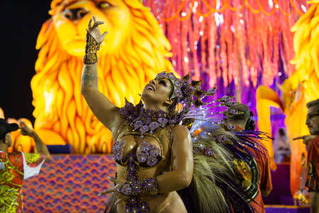 """Estacio de Sa com o enredo """"A fé que emerge das águas"""" durante Desfile Escolas de Samba do Carnaval RJ 2019, realizada no Sambodromo da Marquês de Sapucaí no Rio de Janeiro, RJ, na noite de sábado (02)."""