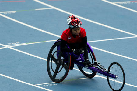 Rio, Brazil - september 10, 2016: BINTE SAAT Norsilawati (SIN) during wommen 400m - T52 final, in the Rio 2016 Paralympics Games.