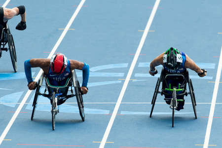 Rio, Brazil - september 10, 2016: MARTIN Raymond (USA) during men 100m - T52 final, in the Rio 2016 Paralympics Games.