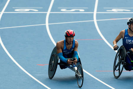 Rio, Brazil - september 10, 2016: IANNOTTA Gianfranco (USA) during men 100m - T52 final, in the Rio 2016 Paralympics Games.
