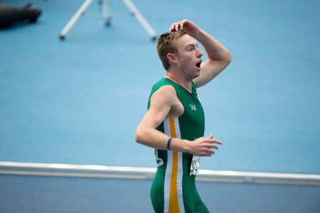 Rio, Brazil - september 10, 2016: du TOIT Charl (RSA) during men 100m - T37 round 1 heat 2, in the Rio 2016 Paralympics Games