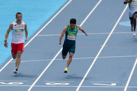 Rio, Brazil - september 10, 2016: NASCIMENTO Yohansson (BRA) during men 100m - T47 round 1 heat 2, in the Rio 2016 Paralympics Games 에디토리얼